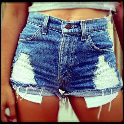 Europe and America hole hole pocket denim hot pants shorts