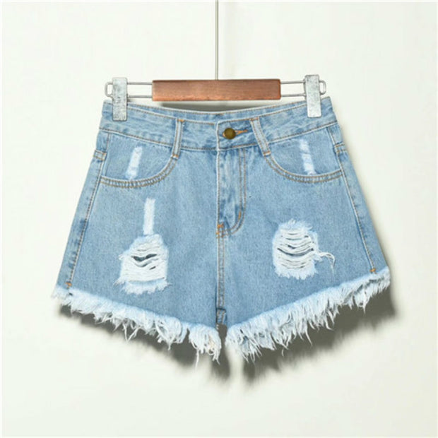 Holed Jeans Shorts Women's Loose And Thin Wide Leg Pants Hot Pants