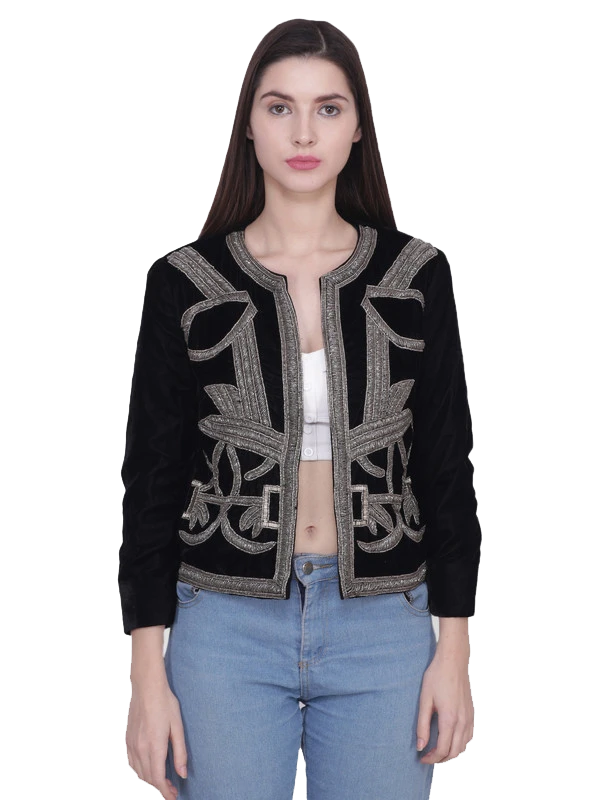 NORA Black Silver Baroque Hand Embellished Jacket