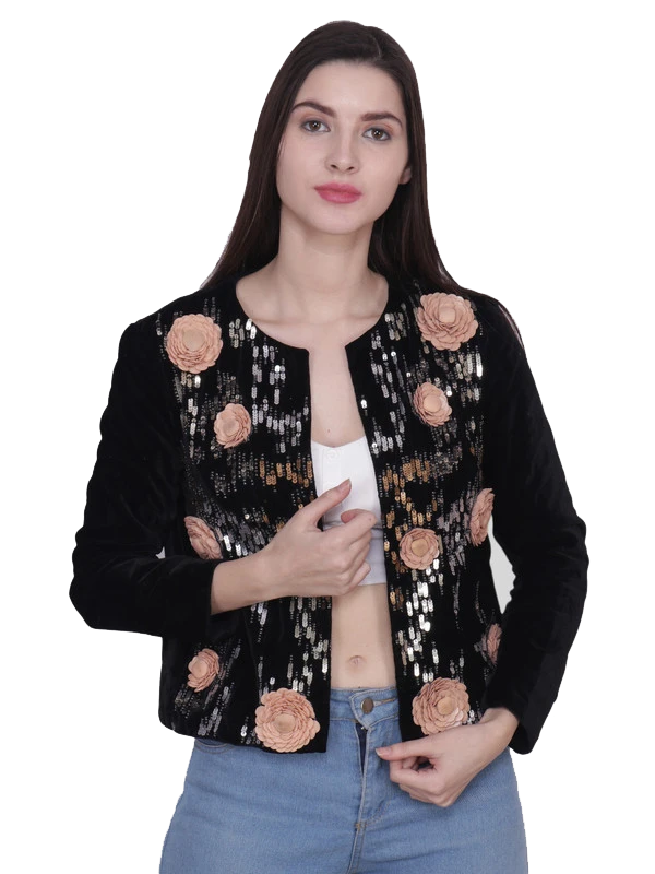 PERRAN Blush Rose Black velvet Hand Embellished Jacket