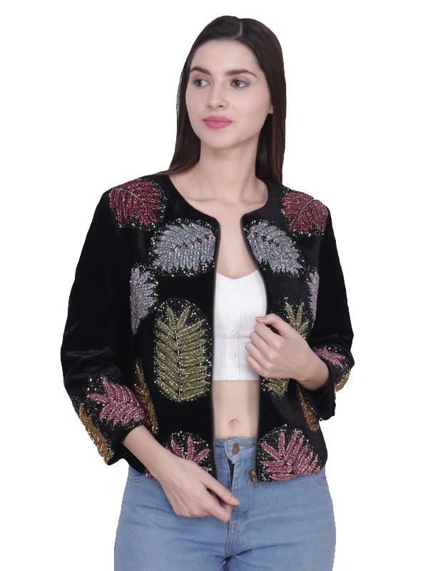 CAREY Multi Leaf Hand Embellised Jacket