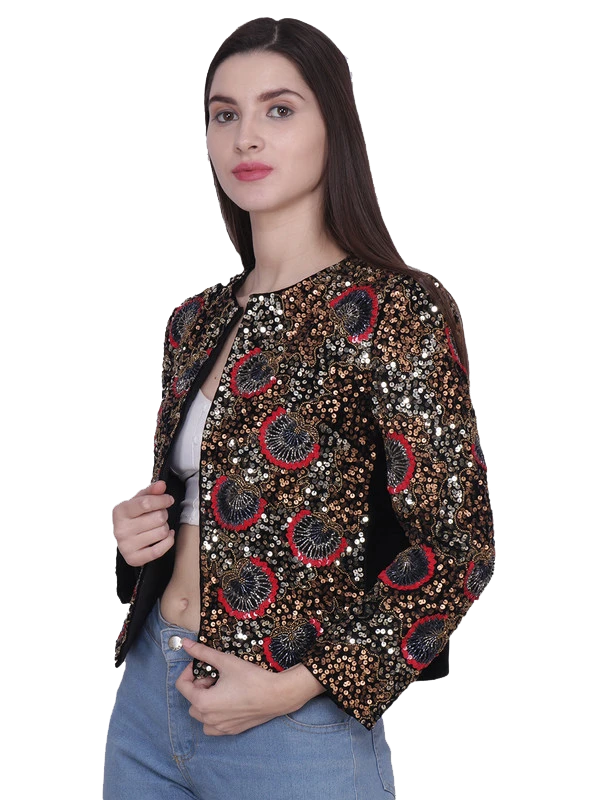 CLYDE Floral Metallic Sequins Hand Embellished Jacket