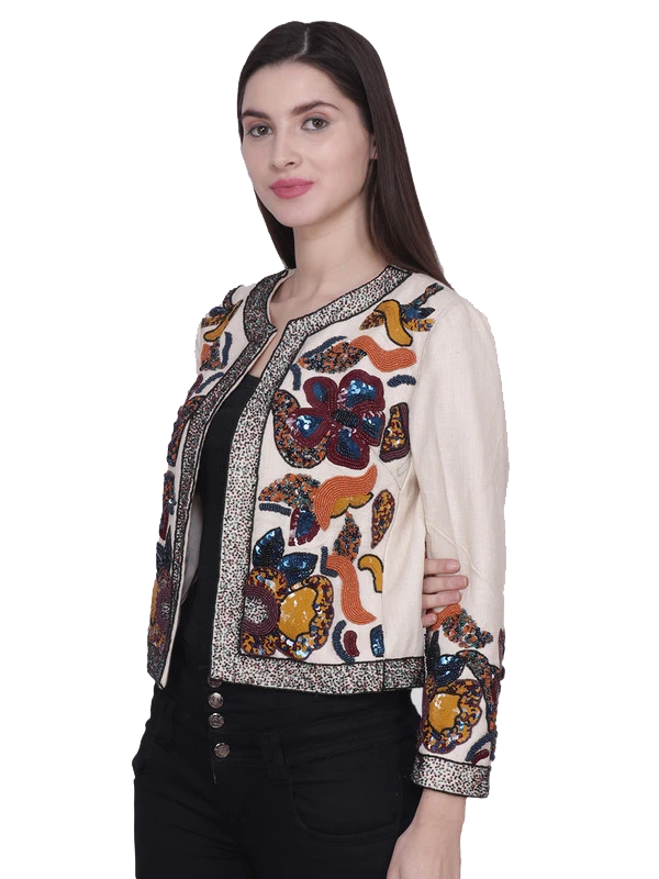 VANA Ivory Multi sequins Hand Embroidered Jacket