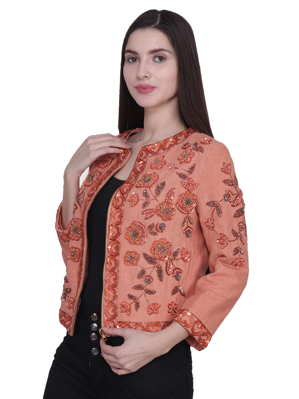 LINA Orange Floral Sequins Hand Embellished Jacket