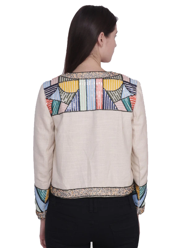 FREYA Ivory Multi Beaded Hand Embellished Jacket