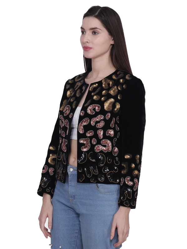 MORITZ Black Leopard Metallic Hand Embellished Jacket