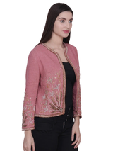 LIVO Pink Grassy Beaded Hand Embellished Jacket