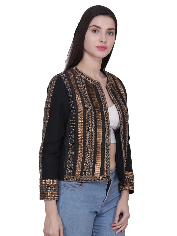MILES Black Antique Gold Hand Embellished Jacket