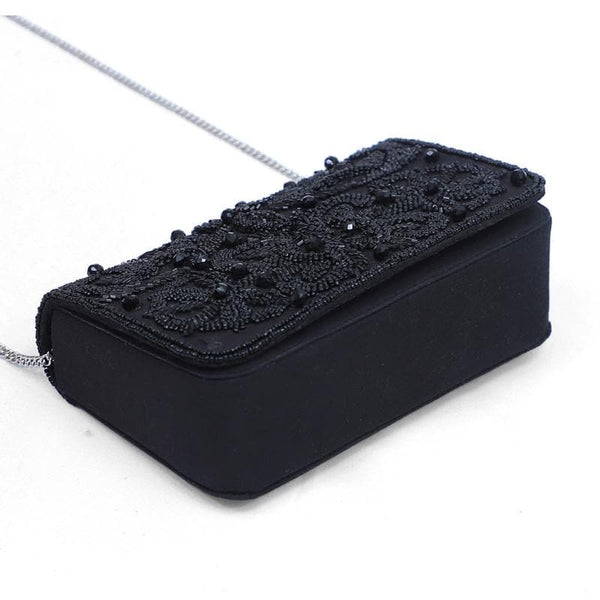 GAZELLE Flora Black Beaded Foldover Clutch