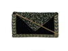 LARA Hand Embroidered Black Velvet Small Beaded Envelop Clutch