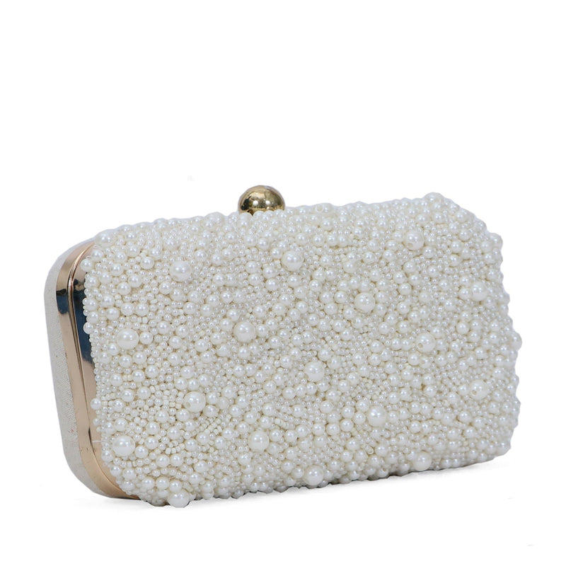 BASCO White Pearl Beaded Box Clutch