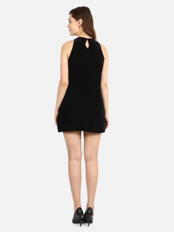 Leifo Black Summer Velvet Dress