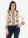 ROSAT White Floral Sequins Hand Embellished Jacket