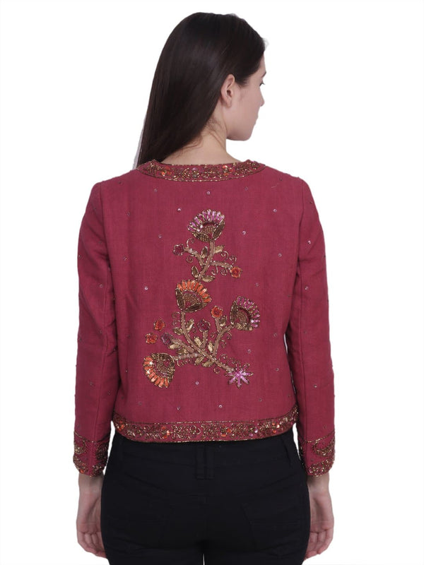 ROSAT Wine Floral Sequins Hand Embellished Jacket