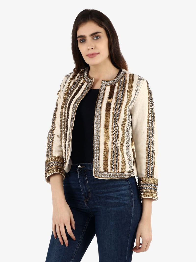 MILES White Antique Gold Hand Embellished Jacket