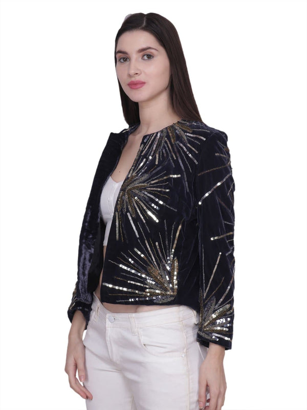LIVANA Black velvet Sequins Hand Embellished Jacket