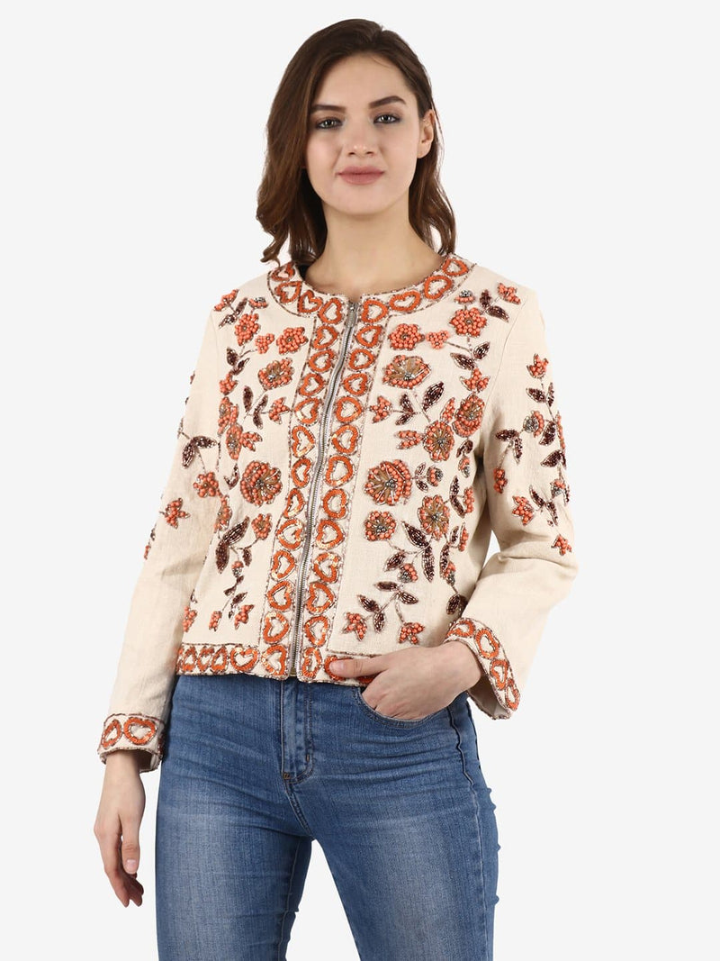 LINA White Floral Sequins Hand Embellished Jacket