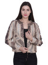 LEORA Brown Hand Embellished Jacket