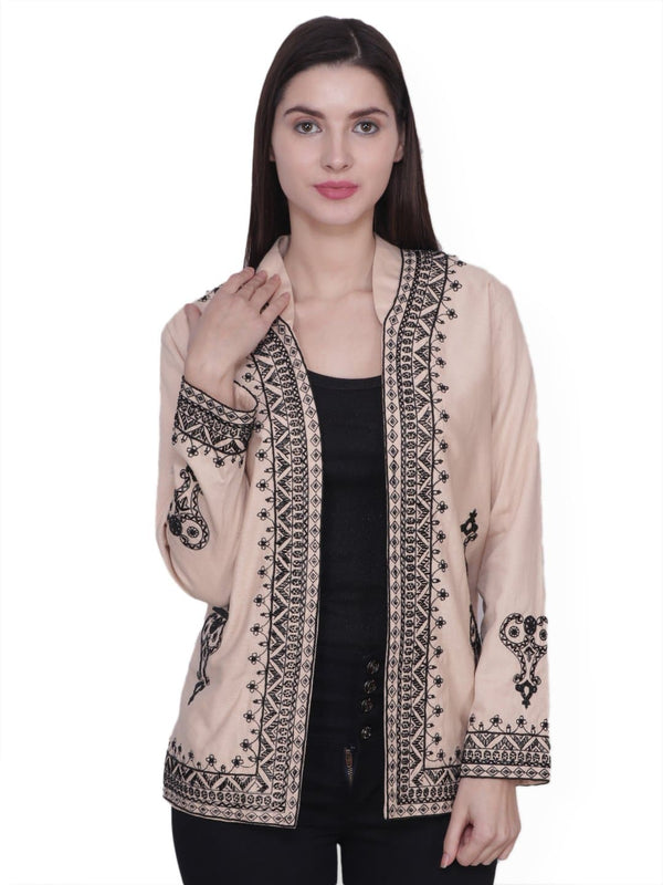 VENTURA Brown Black Hand Embroidered Jacket