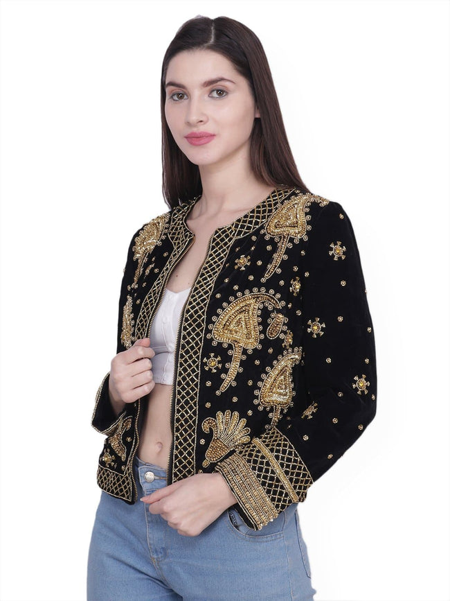 PAMINA Black Gold Hand Embroidered Jacket