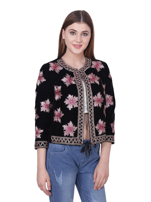 URSEL Black Pink Floral Embroidered Jacket