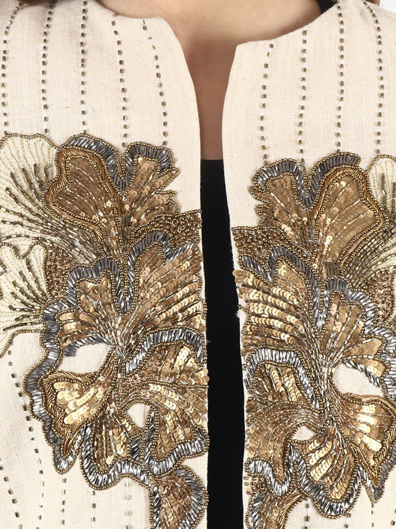 ALDUS white & Gold Embroidered Jacket