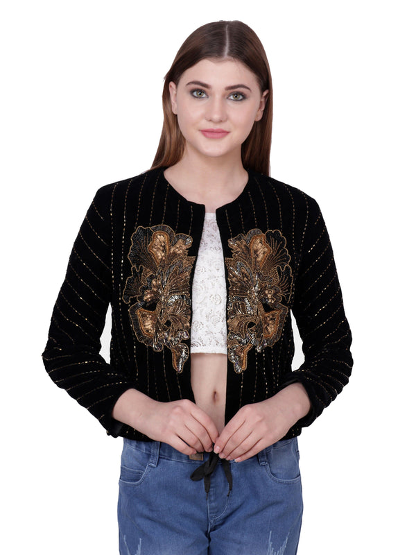 ALDUS Black & Gold Embroidered Jacket