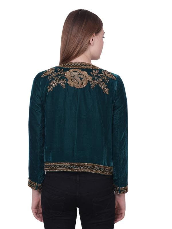 MARA Green Golden Hand Embellised Jacket