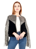 KOSMO Black Silver Beaded Hand Embellished Jacket