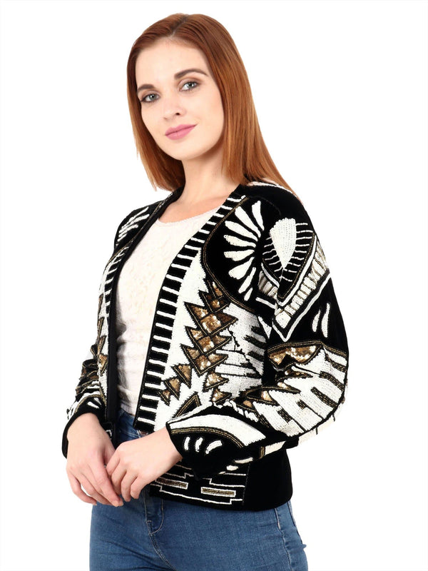 LUCA Black & White Hand Embellished Jacket