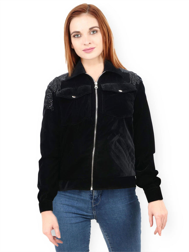 ZOLA Black Hand Embroidered Jacket
