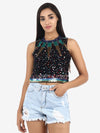 Starz Black Embroidered Top