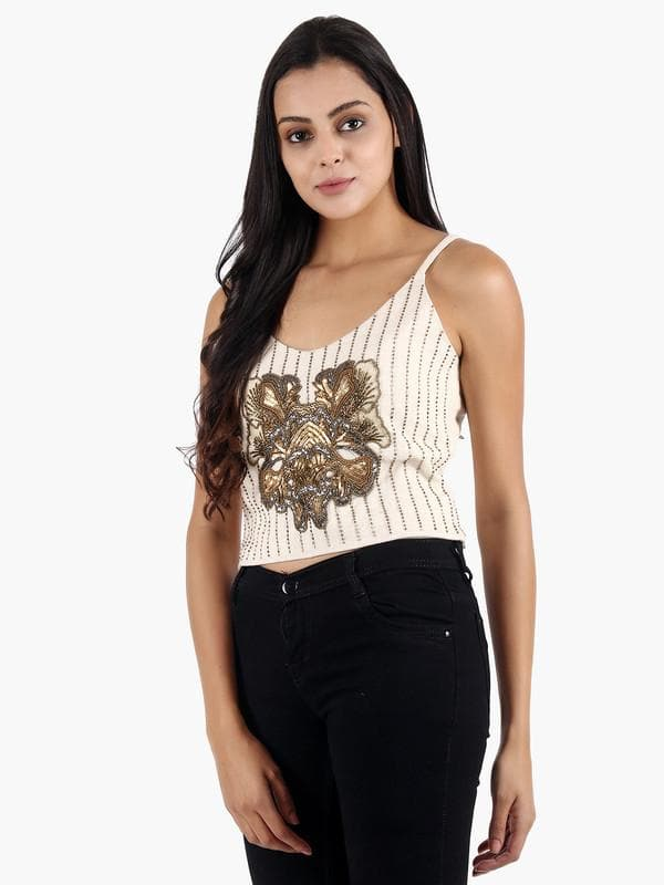 Aldus White & Gold Embroidered Top