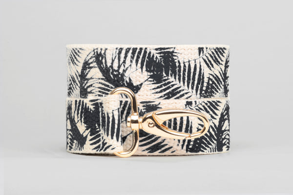 Black Palm Printed Purse Strap