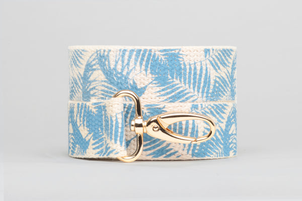Blue Palm Printed Purse Strap
