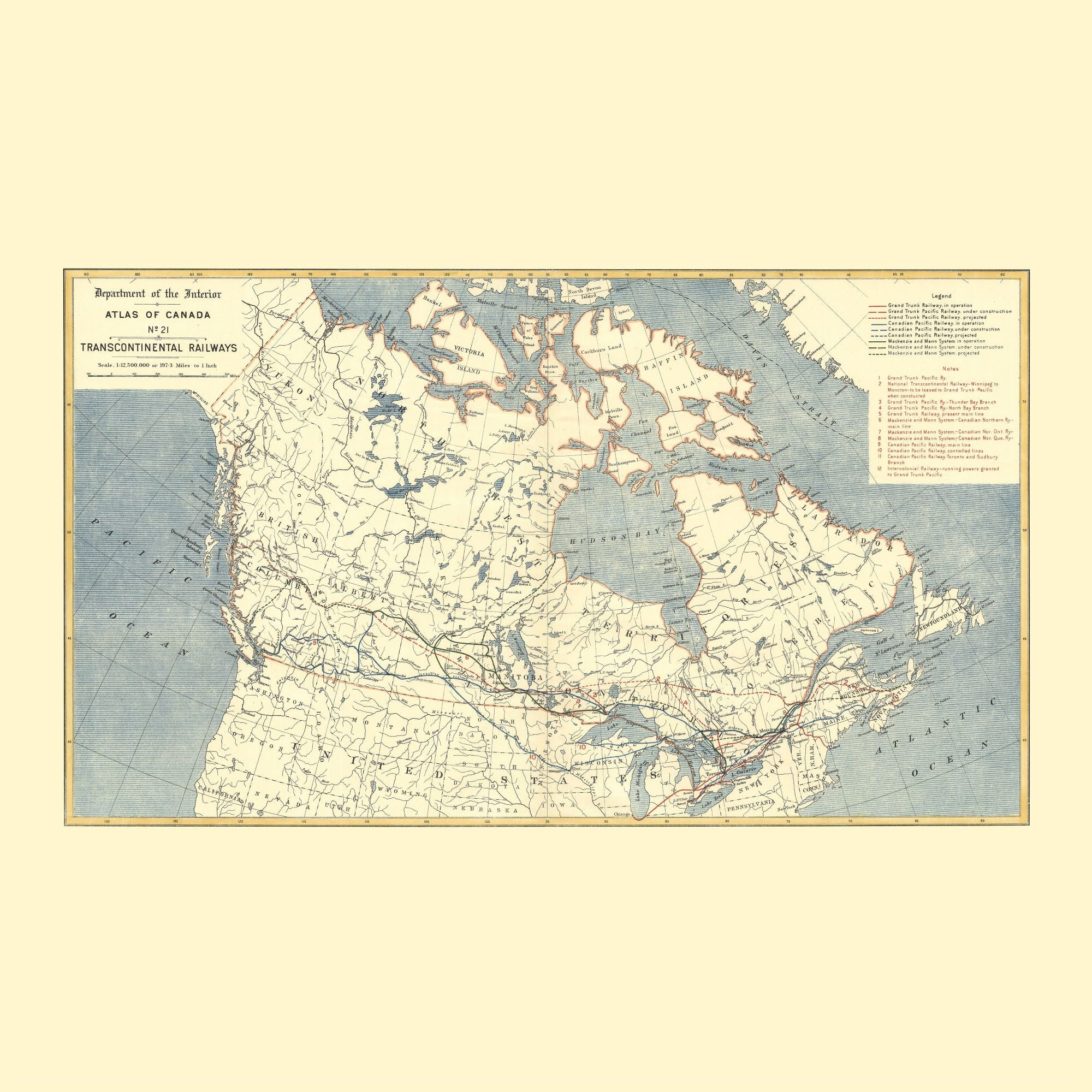 Map of Canada Dinner Napkin - set of 4