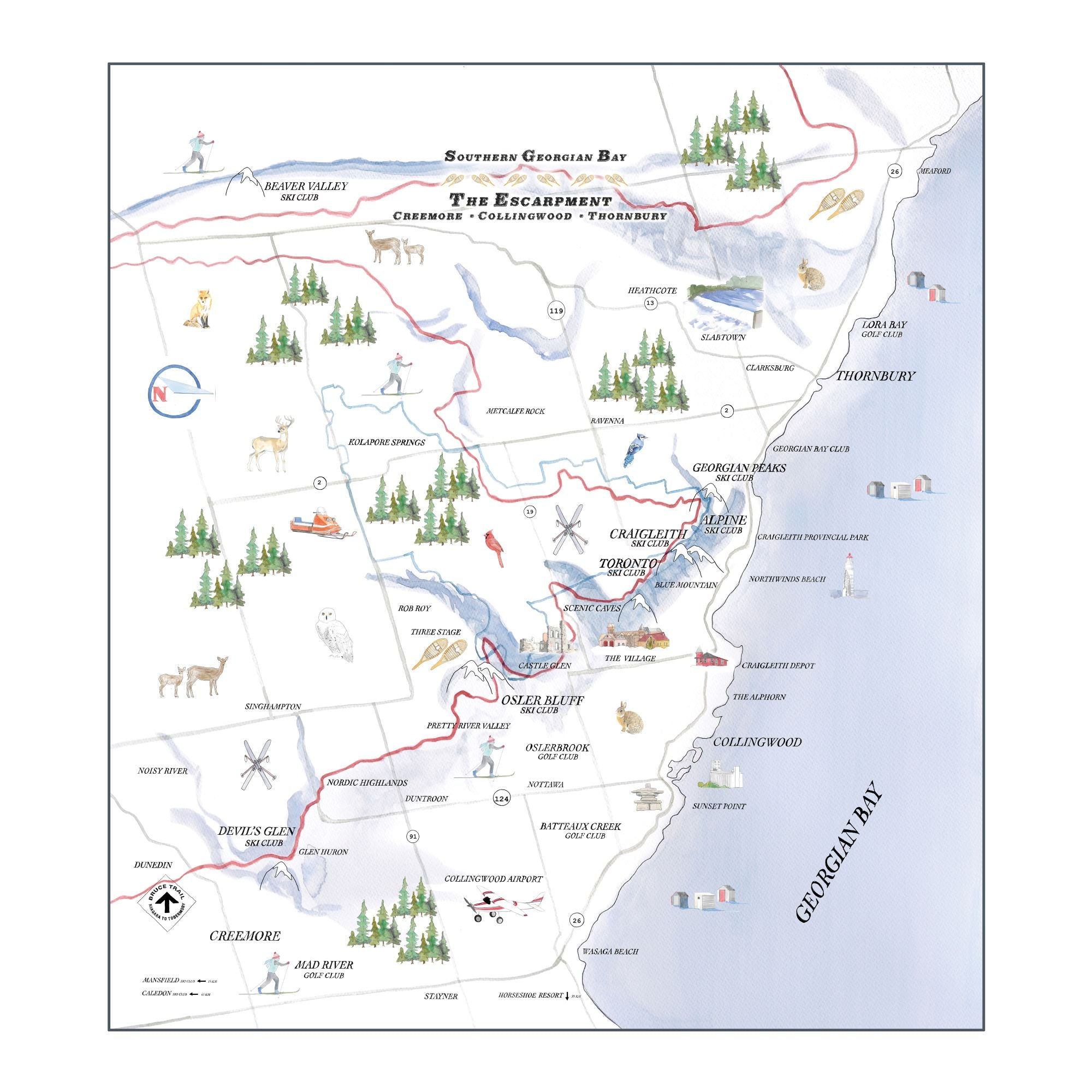 Chalet Map Dinner Napkin - set of 4