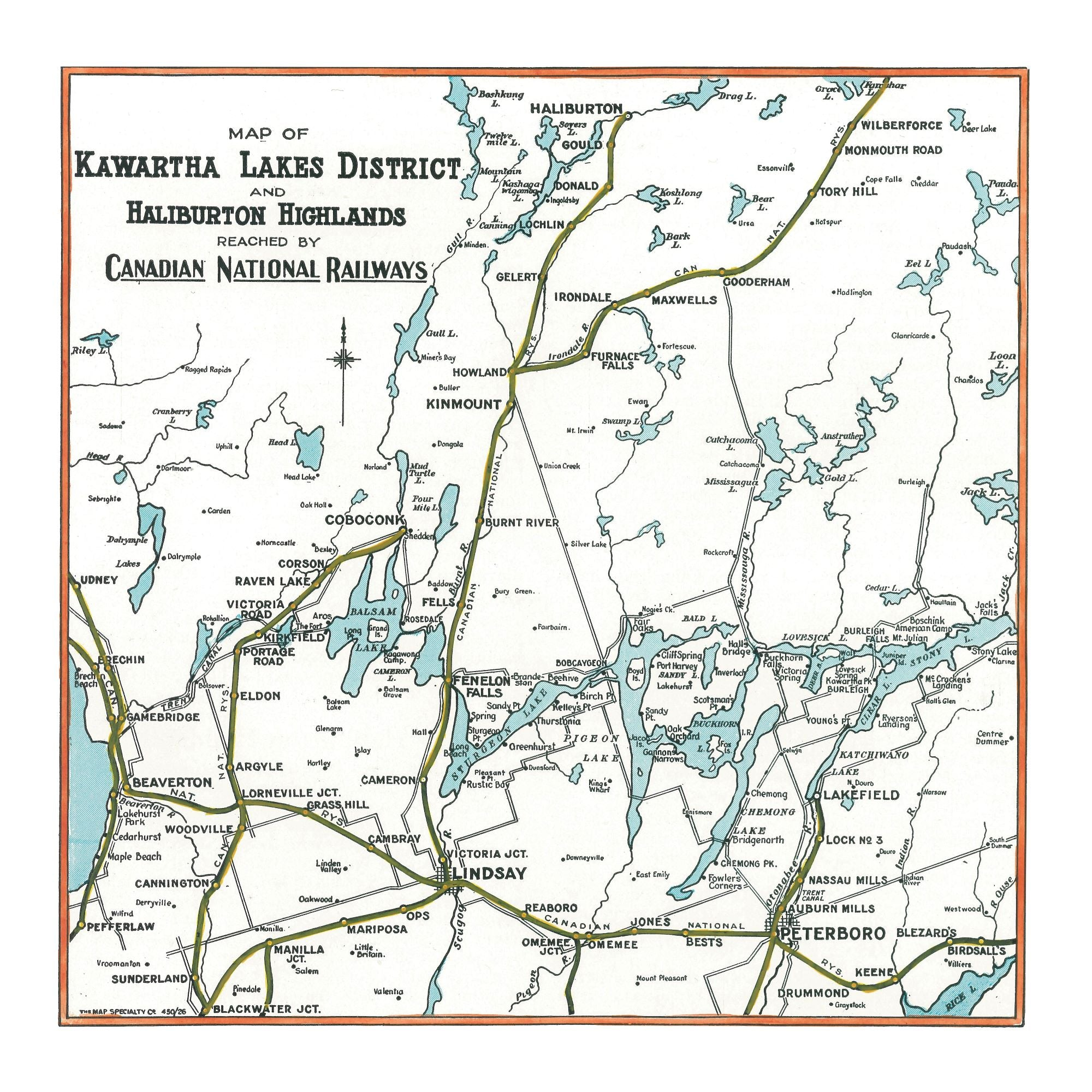 Kawartha Lakes Map Dinner Napkin - set of 4