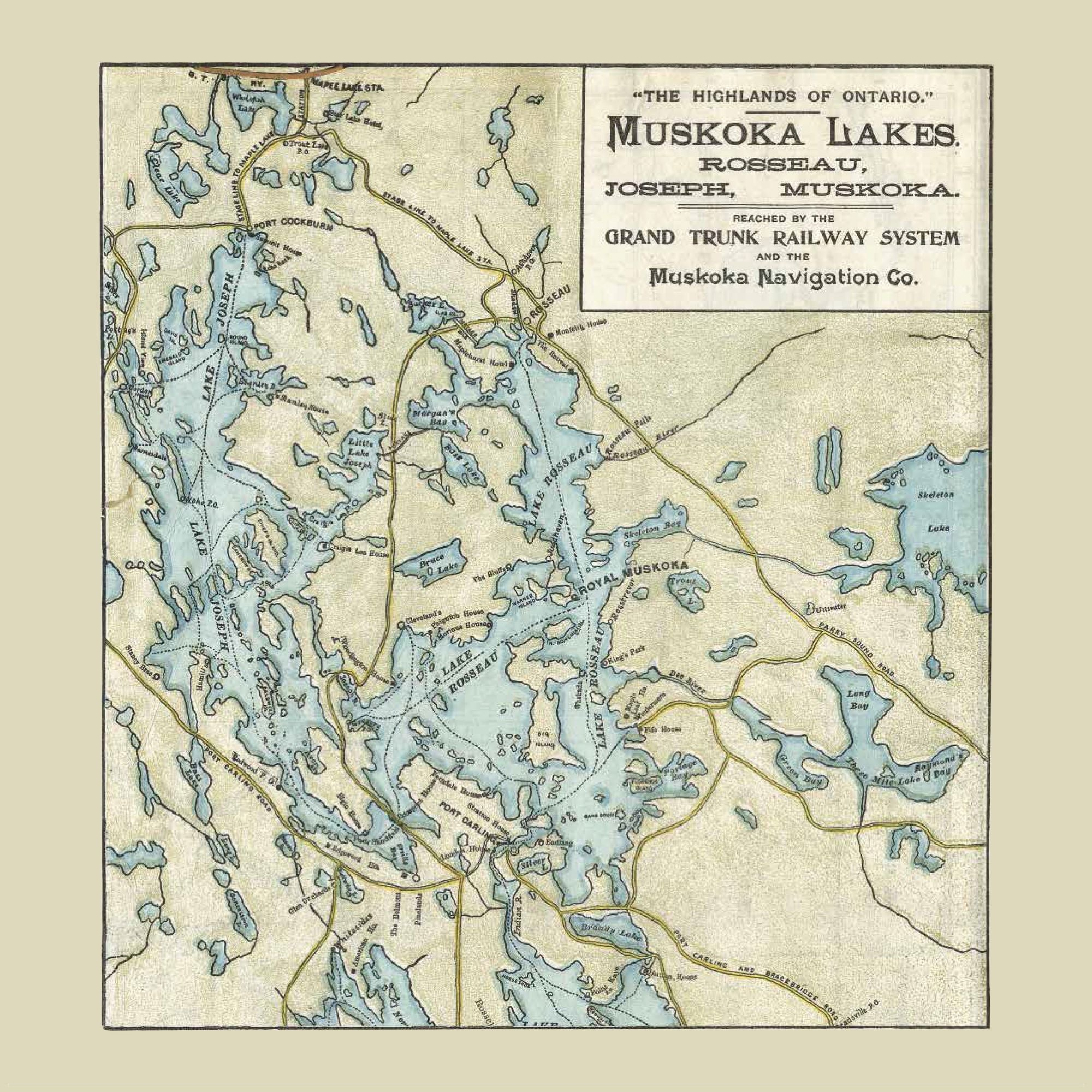 Lake Rosseau & Lake Joseph Map Dinner Napkin - set of 4
