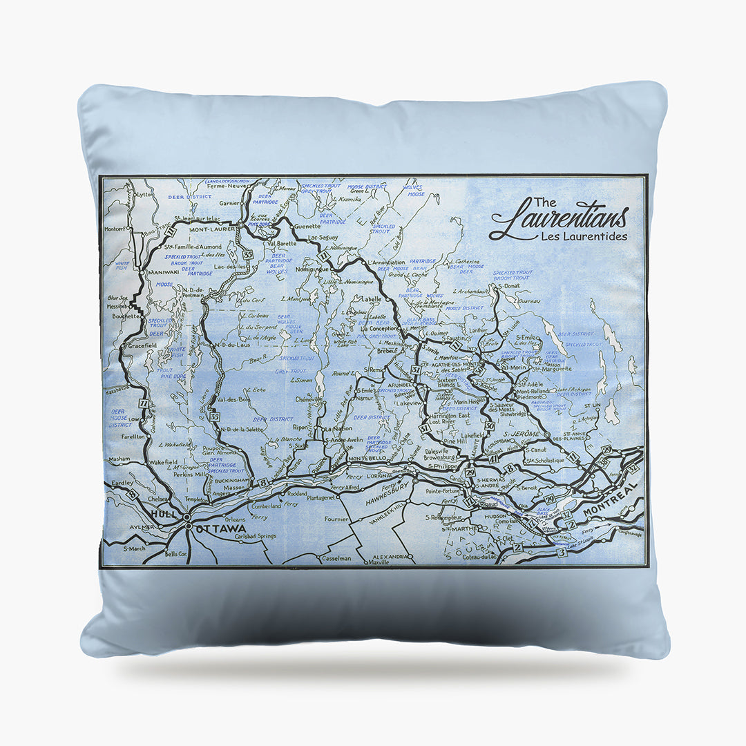 Laurentians Map Dog Bed