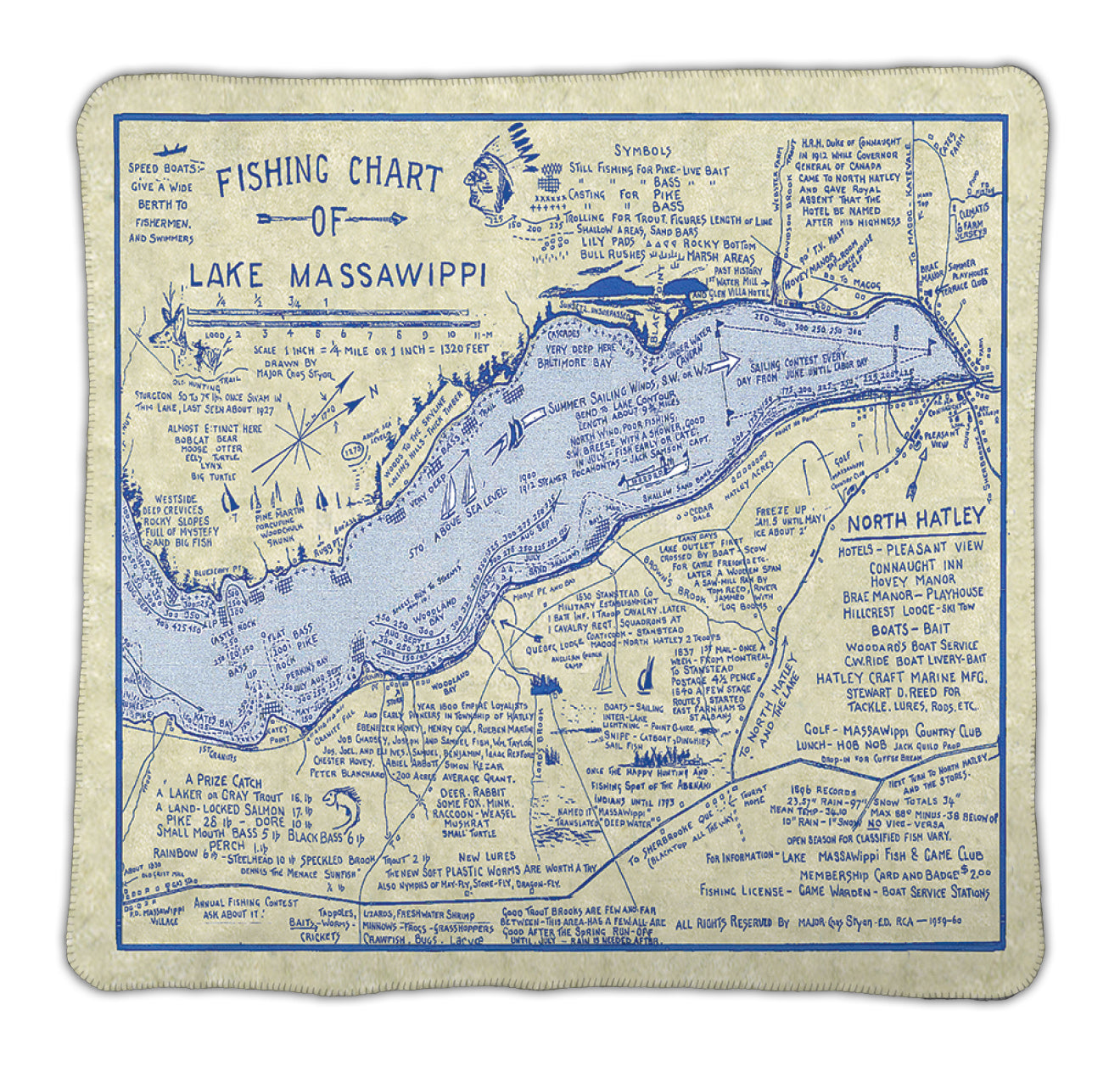 Lake Massawippi Map Blanket