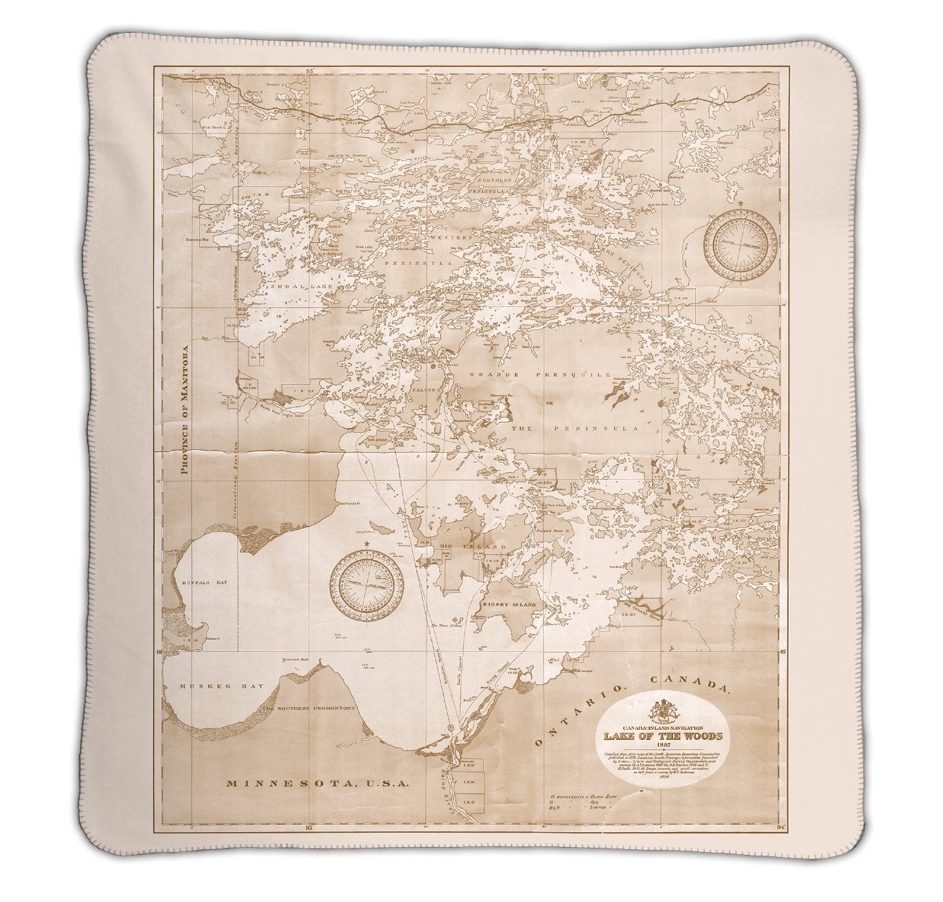 Lake of the Woods Map Blanket