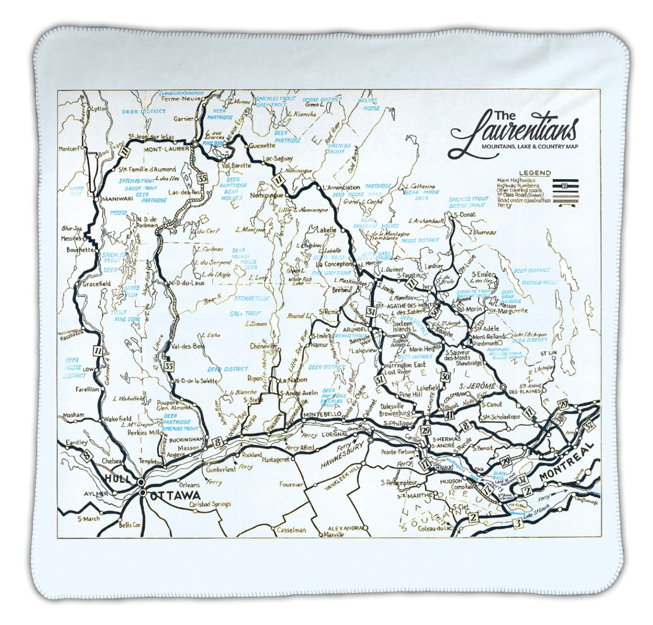 Laurentians Map Blanket