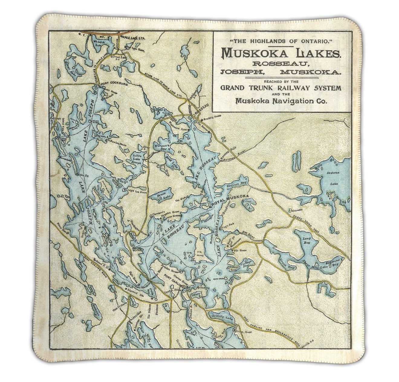 Lake Rosseau & Lake Joseph Map Blanket