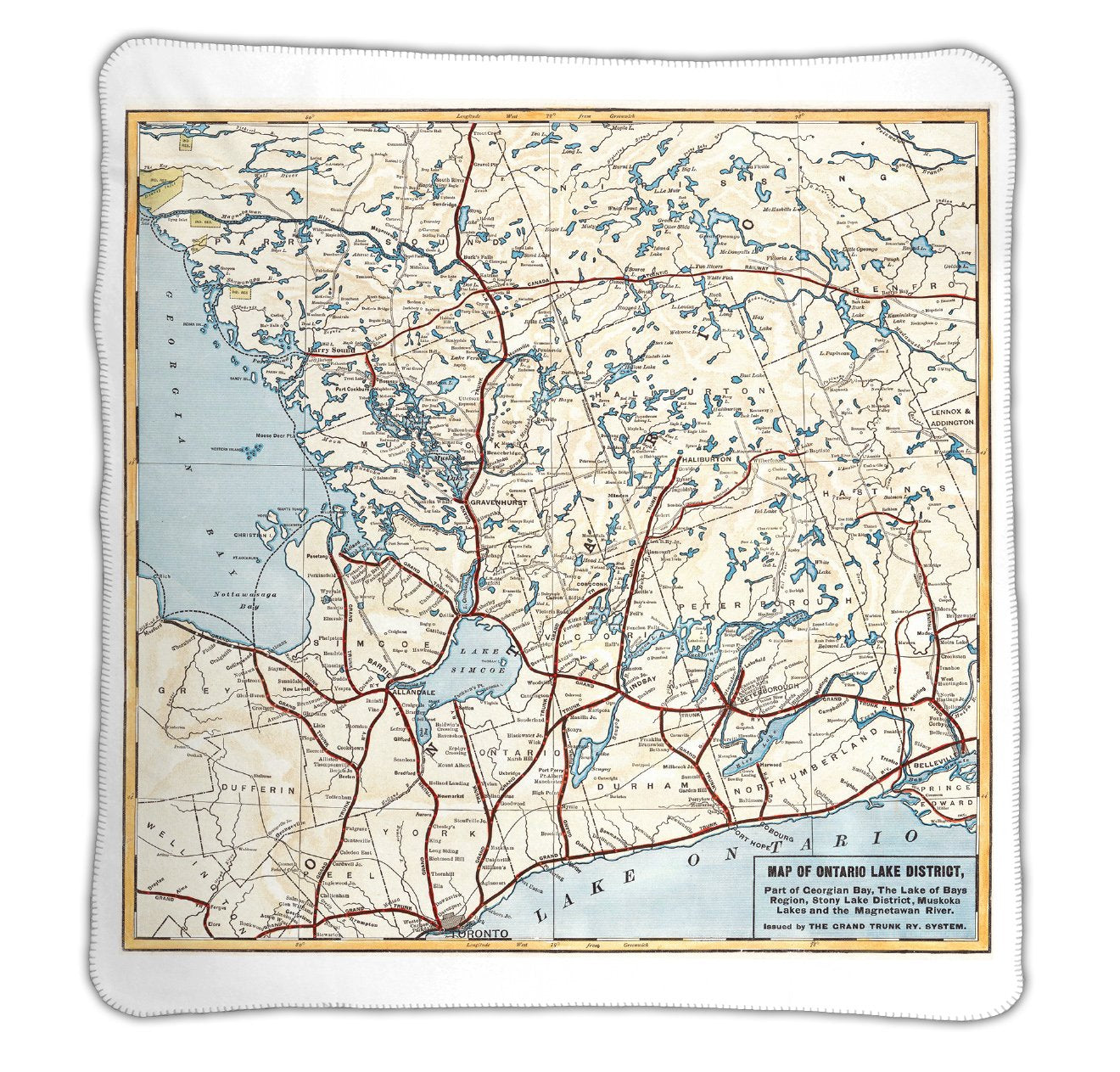 Ontario Lake District Map Blanket