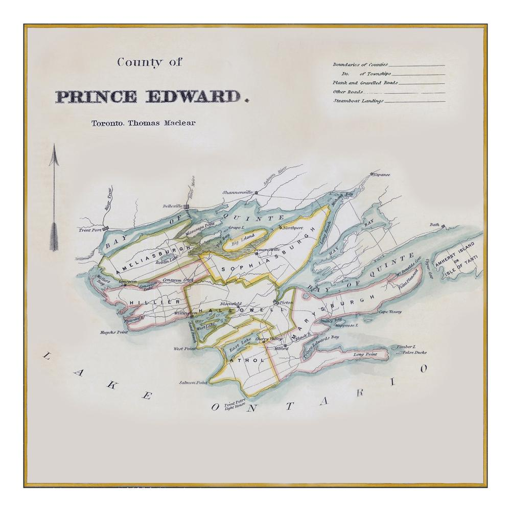 Prince Edward County Lakes Map Notecards