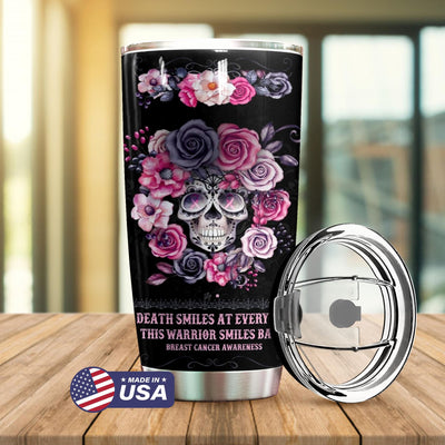 Breast Cancer This Warrior Smiles Back Personalized Tumbler PRE894 -2
