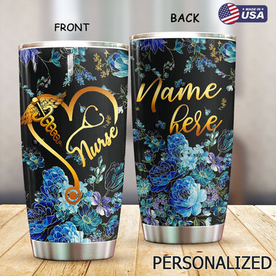Blue Flower Nurse Personalized Tumbler PRE872 -1