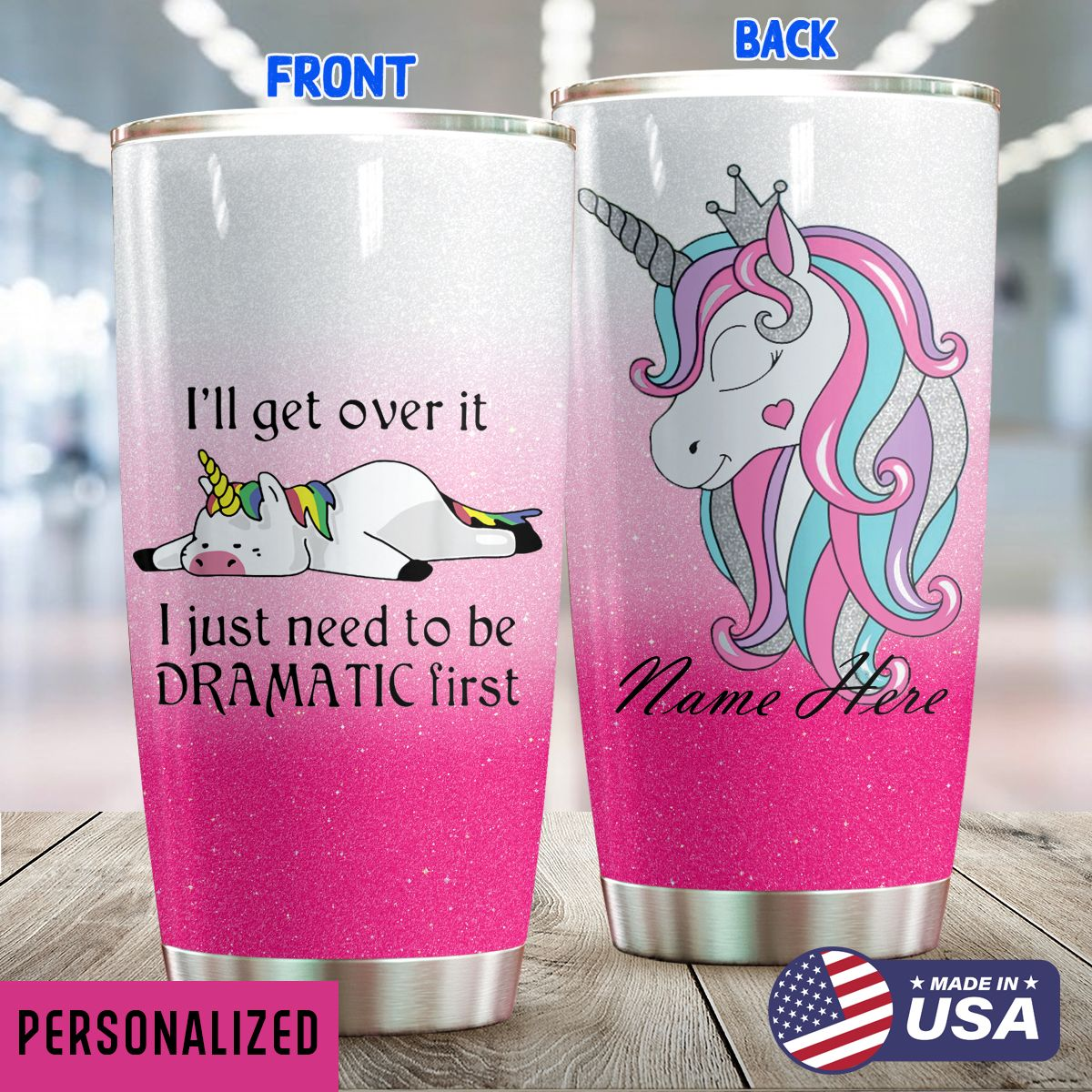 Dramatic Unicorn Personalized Tumbler PRE1048