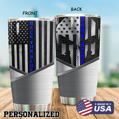 Back The Blue Metal Personalized Tumbler PRE785 -1